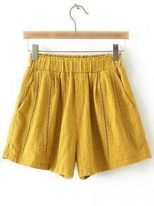 Yellow Pockets Elastic Waist Hollow Embroidery Shorts