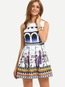 Multicolor Sleeveless Pleated Print Dress