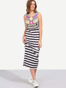 Multicolor Sleeveless Print Stripe Maxi Dress