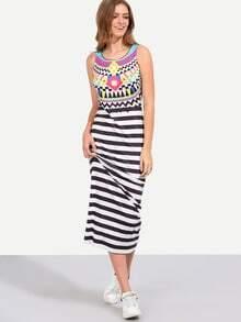 Multicolor Sleeveless Print Stripe Maxi Dress