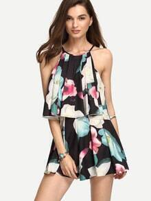 Multicolor Sleeveless Flower Print Pleated Twopieces