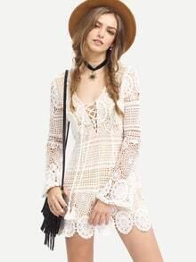 White Long Sleeve Lace Up Lace Boho Dress