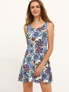 Multicolor Print Sleeveless Hollow Back Dress