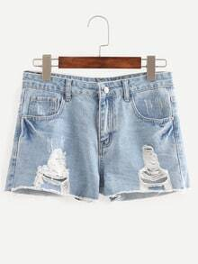 Blue Ripped Scratch Denim Shorts