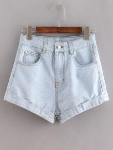 Pale Blue Cuffed Denim Shorts