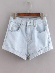 Pale Blue Cuffed Denim Shorts