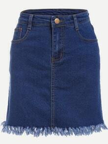 Blue Fringe Denim Skirt