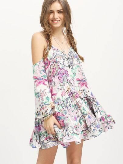 Multicolor Boho Spaghetti Strap Floral Ruffle Dress