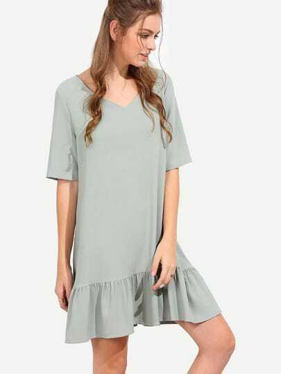 Green V Neck Half Sleeve Ruffle Shift Dress