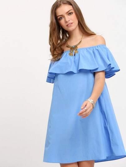 Blue Off The Shoulder Ruffle Shift Dress