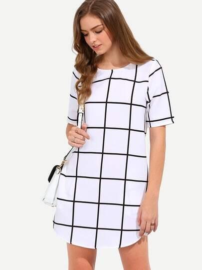 Plaid Pocket Check Curved Hem Dress