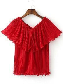Red Convertible Chiffon Pleated Tube Blouse