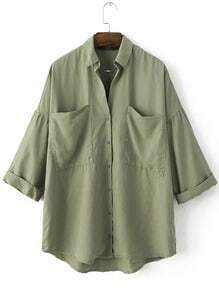 Green Lapel Buttons Front Pockets Blouse