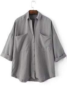 Grey Lapel Buttons Front Pockets Blouse