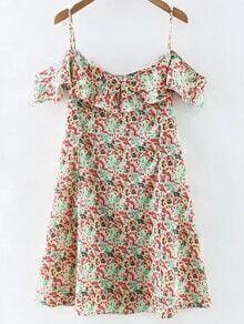 Multicolor Floral Print Ruffle Spaghetti Strap Dress