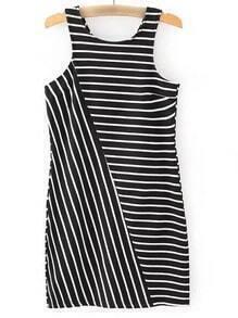 Black White Split Side Stripe Tank Dress