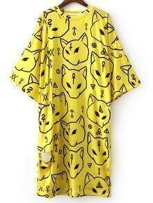 Yellow Knee Length Pockets Animal Print Dress