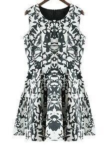 Black White Sleeveless Zipper Back Print Flare Dress