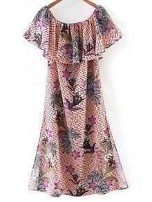 Multicolor Boat Neck Split Side Floral Print Midi Dress