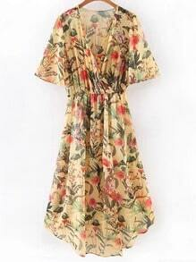 Multicolor Cross V Neck Floral Print Midi Dress