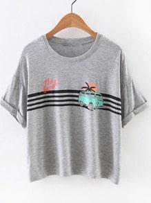 Grey Short Sleeve Bus Print Casual T-shirt