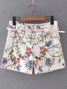 Multicolor Zipper Side Floral Print Shorts With Belt