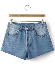 Blue Pockets Buttons Fly Stripe Decoration Denim Shorts