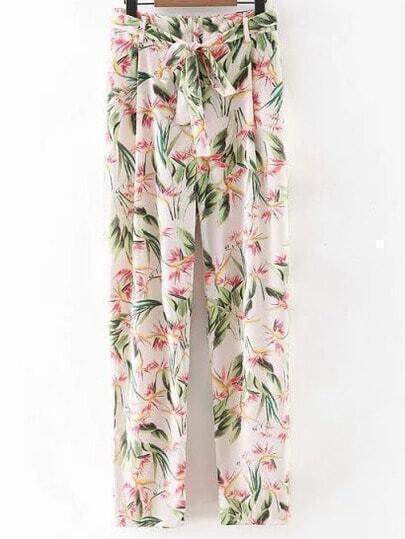 Multicolor Tie-Waist Bow Floral Print Pants