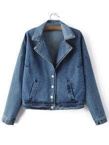 Blue Pockets Buttons Front Letters Patch Denim Jacket