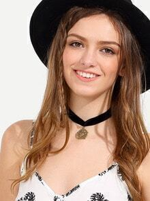 Pentangle Pendant Velvet Choker Necklace