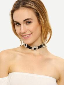 Silver Metal Embellishment Choker Necklace