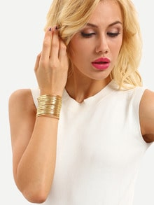 Gold Plated Hollow Cuff Bracelet