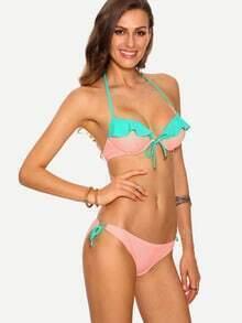 Contrast Ruffle Bikini Set - Pink