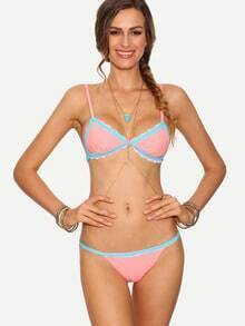 Contrast Trim Triangle Bikini Set - Pink