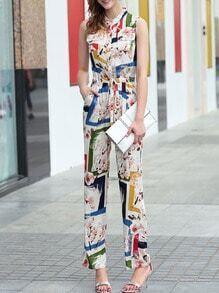 Multicolor Drawstring Pockets Print Jumpsuit