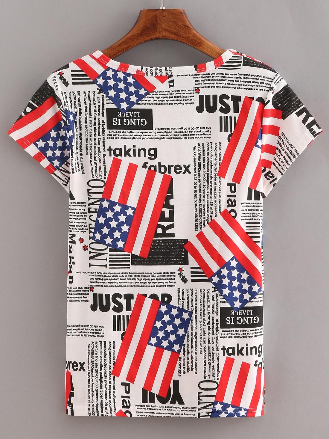 Usa flag letters print t shirt shein sheinside for T shirt printing usa