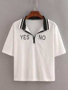 Striped Trim Letters Print Zip T-shirt