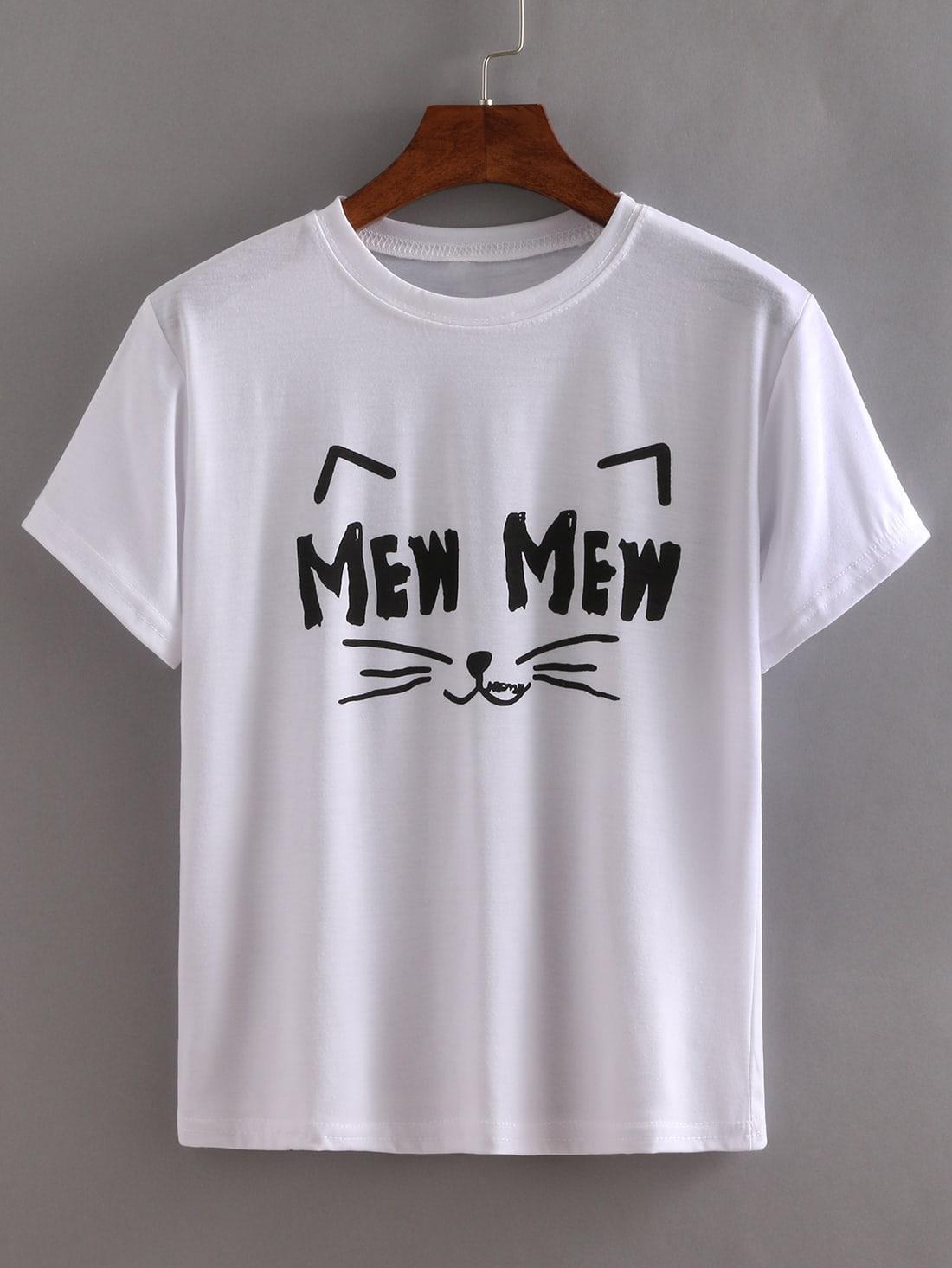 Фото Smiley Cat Print T-shirt. Купить с доставкой
