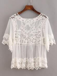 White Sheer Lace Insert Hollow Shirt