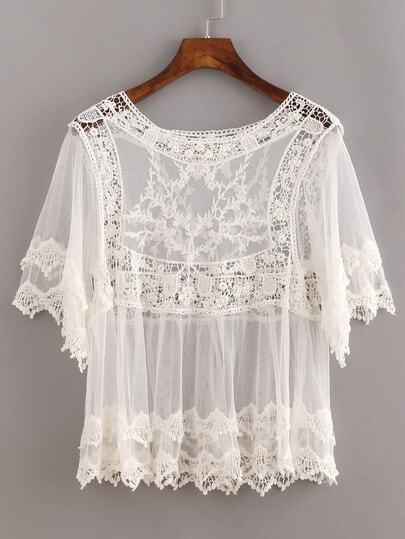 Sheer Lace Insert Hollow Shirt