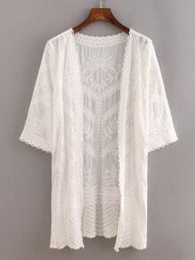 White Elbow Sleeve Embroidery Blouse