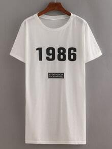 Letters Print Tshirt Dress White