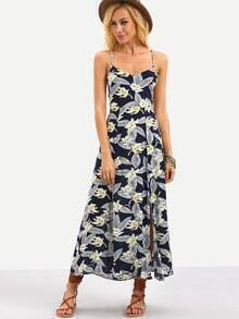 Flower Print Lace-Up Back Cami Dress - Blue