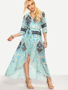 Floral Self-Tie Cross Wrap Asymmetric Dress - Blue