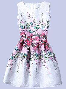 Flower Print Fit & Flare Sleeveless Dress - White