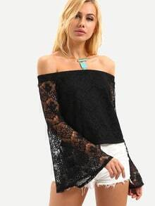 Off-The-Shoulder Bell Sleeve Lace Top - Black