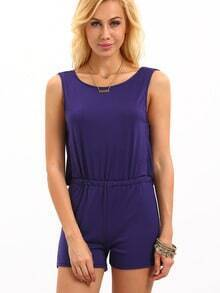 Draped Back Elastic Waist Sleeveless Romper - Blue