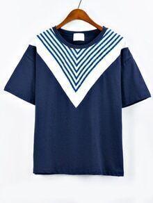 Chevron Striped Print T-shirt - Blue
