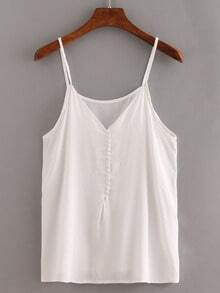 V-Neck Buttoned Front Cami Top - White