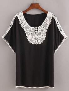 Lace Trimmed Peasant Top - Black